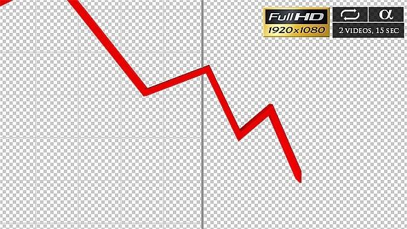 3D Diagram Red Line Down