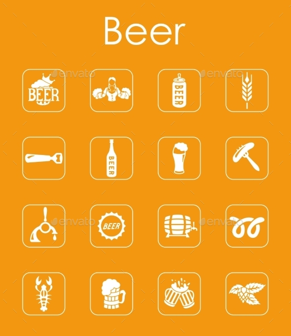 GraphicRiver Set Of Beer Simple Icons 11813169