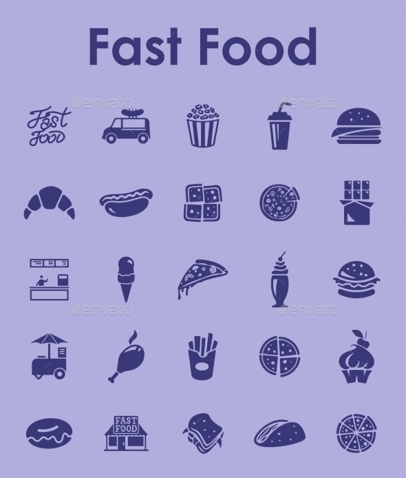 GraphicRiver Set Of Fast Food Simple Icons 11813170