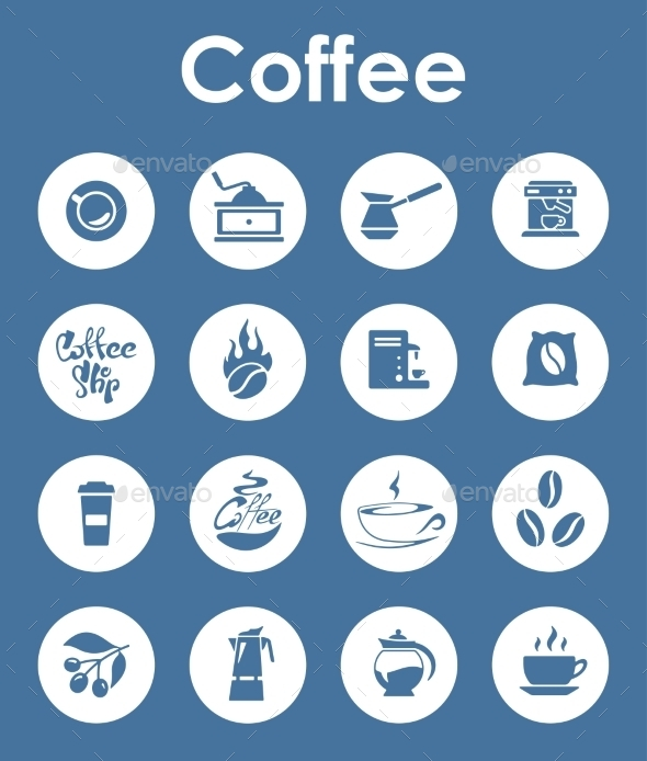 GraphicRiver Set Of Coffee Simple Icons 11813173