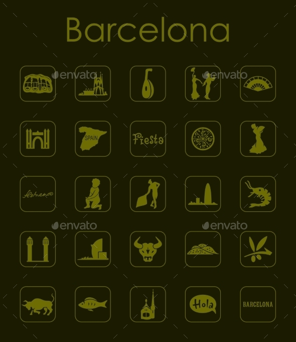 GraphicRiver Set Of Barcelona Simple Icons 11813185