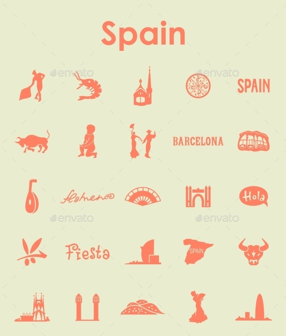 GraphicRiver Set Of Spain Simple Icons 11813189
