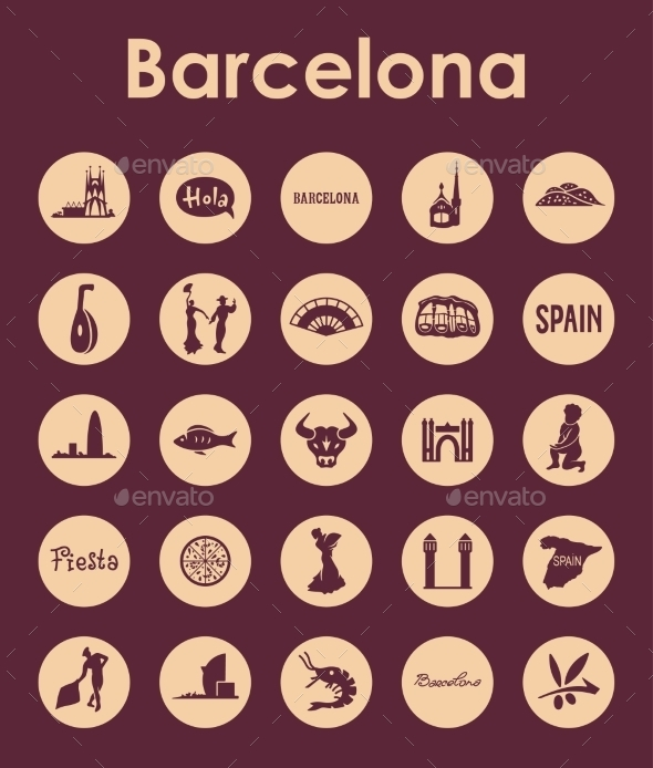 GraphicRiver Set Of Barcelona Simple Icons 11813190