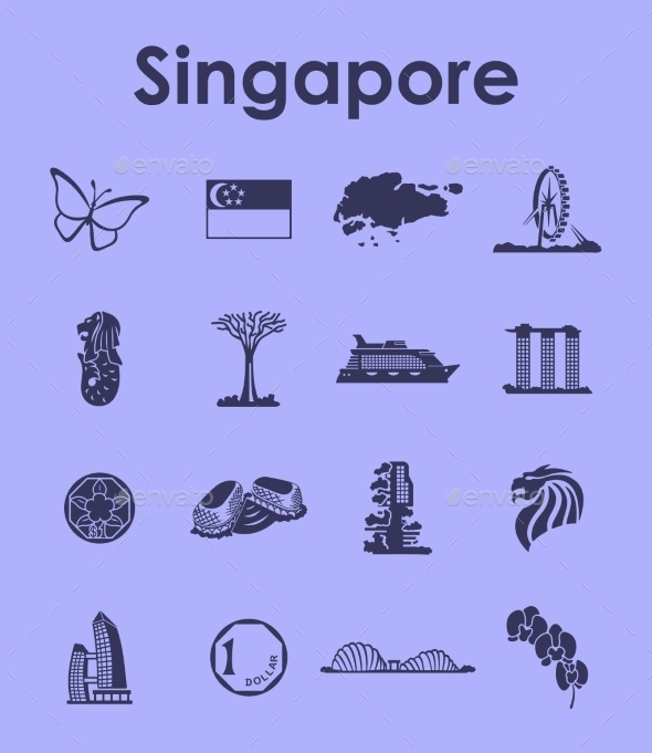 GraphicRiver Set Of Singapore Simple Icons 11813194