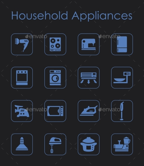 GraphicRiver Set Of Household Appliances Simple Icons 11813237