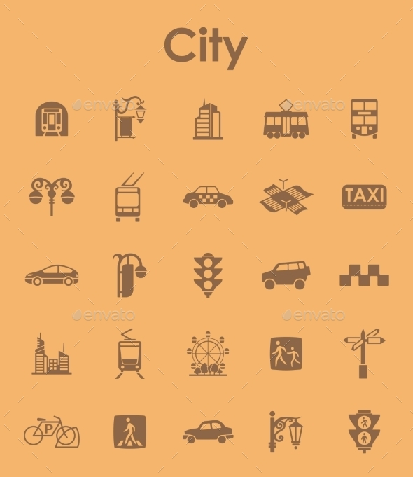 GraphicRiver Set Of City Simple Icons 11813239