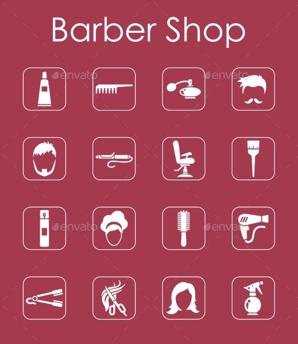 GraphicRiver Set Of Barbershop Simple Icons 11813261