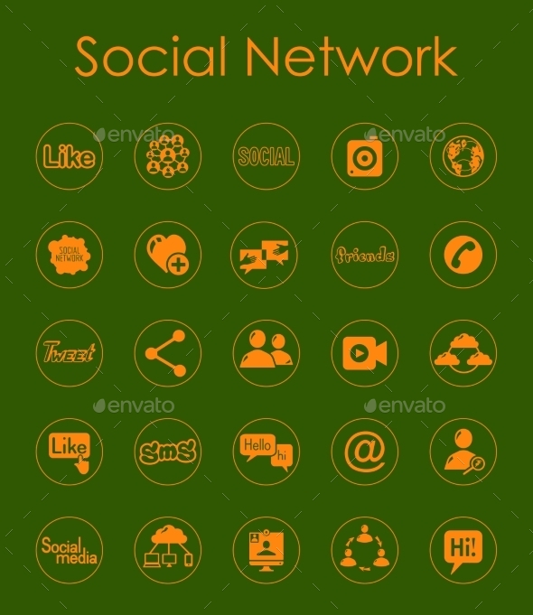 GraphicRiver Set Of Social Network Simple Icons 11813266