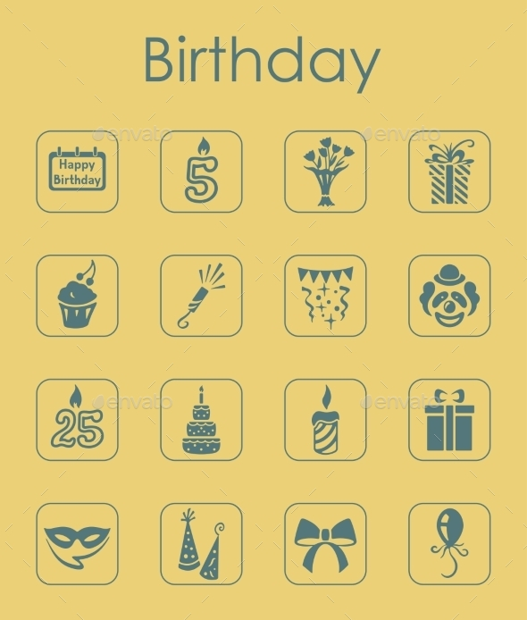 GraphicRiver Set Of Birthday Simple Icons 11813267