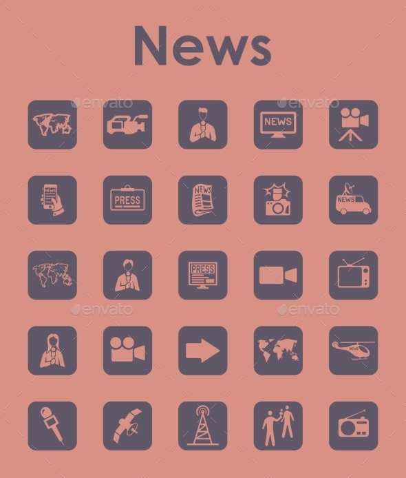 GraphicRiver Set Of News Simple Icons 11813288