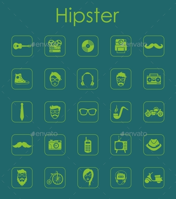 GraphicRiver Set Of Hipster Simple Icons 11813295