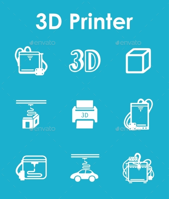 GraphicRiver Set Of Three d Printer Simple Icons 11813296