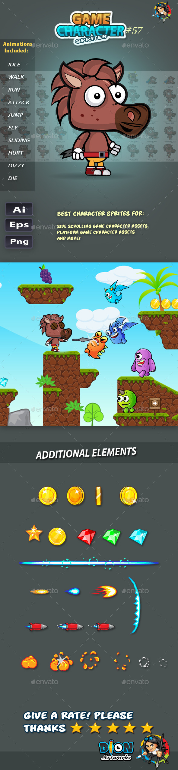 GraphicRiver Horse 2D Game Character Sprites 57 11813483