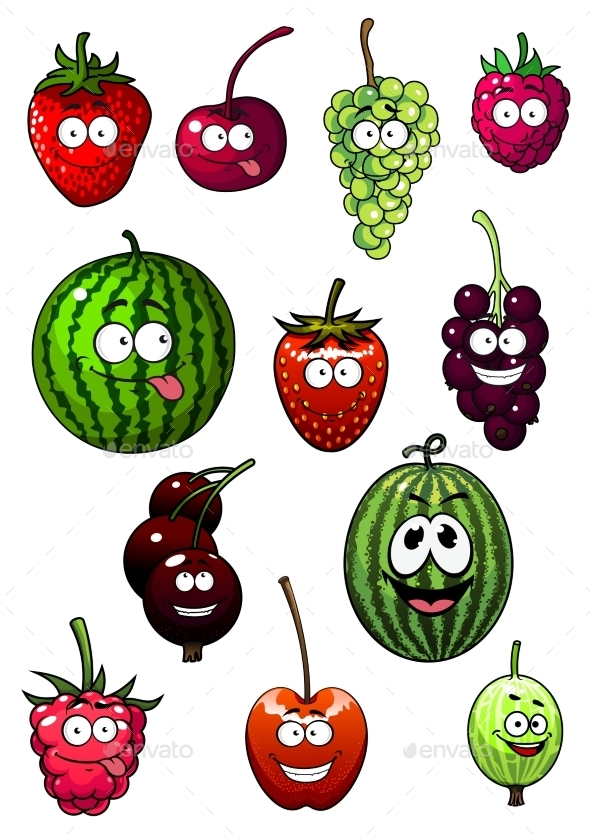GraphicRiver Fresh Cartoon Berries And Fruits 11813993