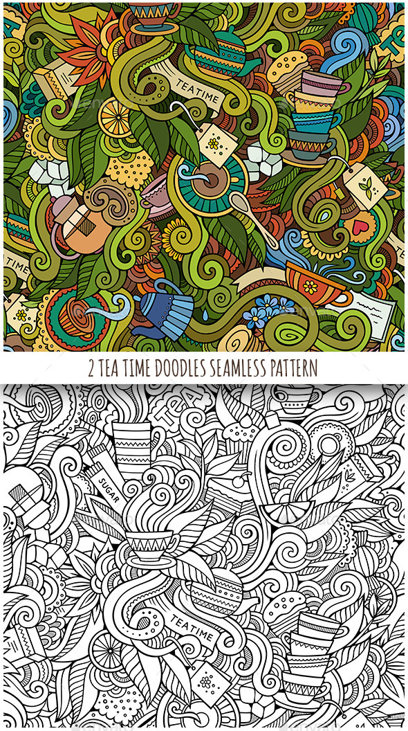 GraphicRiver 2 Tea Doodles Seamless Pattern 11813996