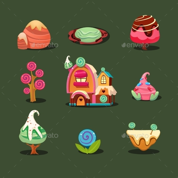 GraphicRiver House From Cookies Islands Sweets Caramel Trees 11814072