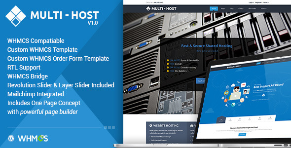 Multi Hosting | WHMCS Hosting WordPress Theme