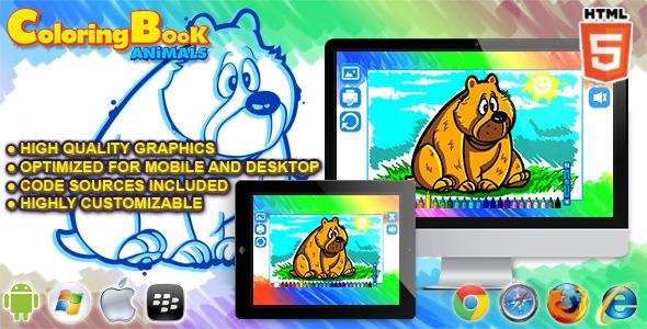 CodeCanyon Html5 Coloring Book Animals HTML5 Game 11814296