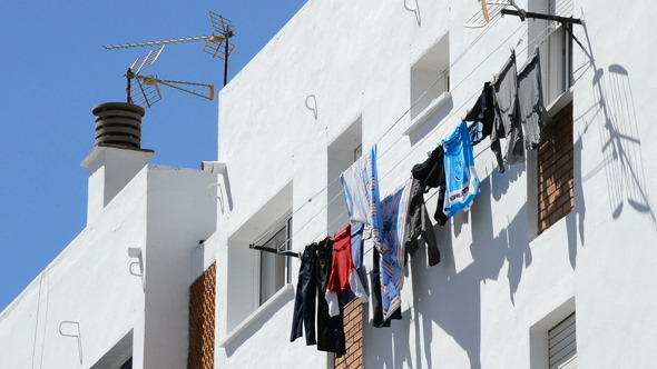 Clothes Hanged to Dry Outside