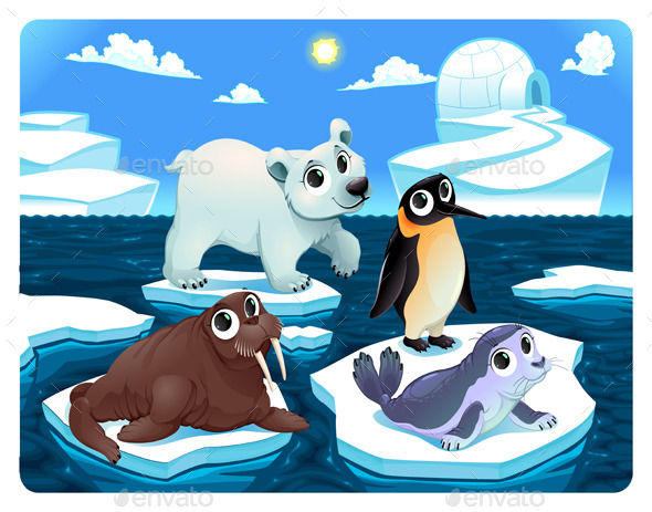 GraphicRiver Polar Animals on the Ice 11815307