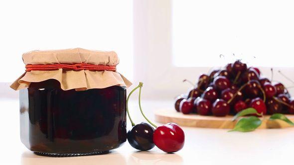 Cherry Jam Jar And A Fresh Cherry Harvest