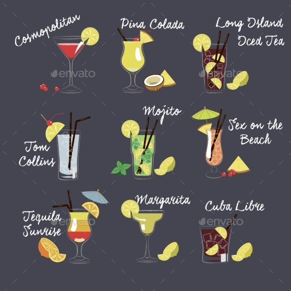 GraphicRiver Vector Illustration Of Different Drinks 11815690