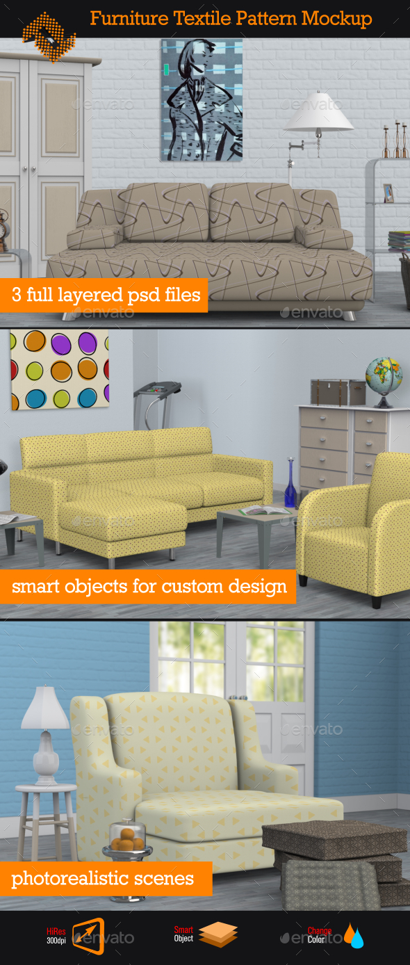 GraphicRiver Furniture Textile Pattern Mockup 11815863