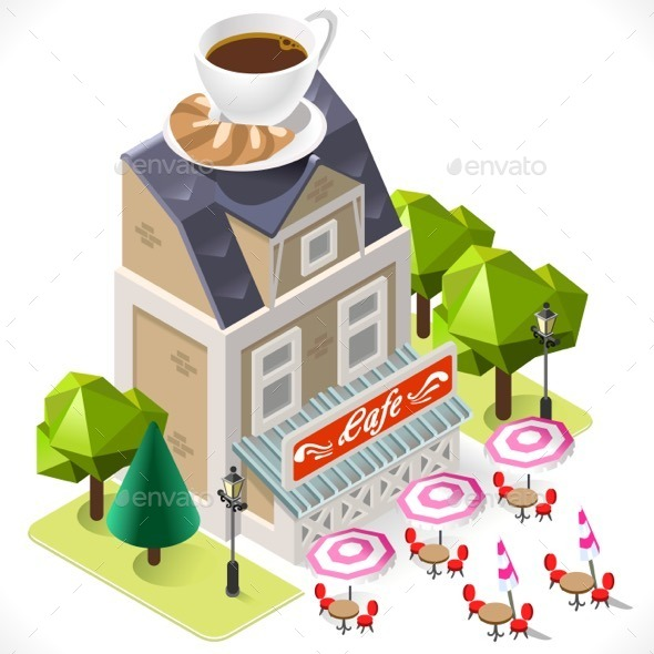GraphicRiver Cafe Building Tint Icon Isometric 11816613