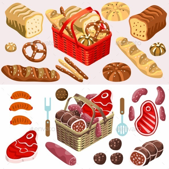 GraphicRiver Food Set Meat and Bread Isometric 11816649