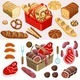 Food Set Meat and Bread Isometric - GraphicRiver Item for Sale