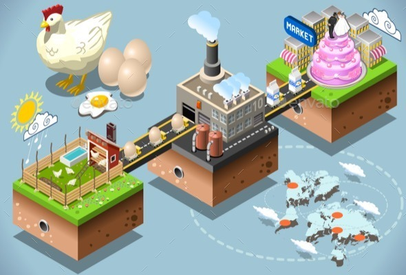 GraphicRiver Isometric Infographic Egg Products Distribution 11816671