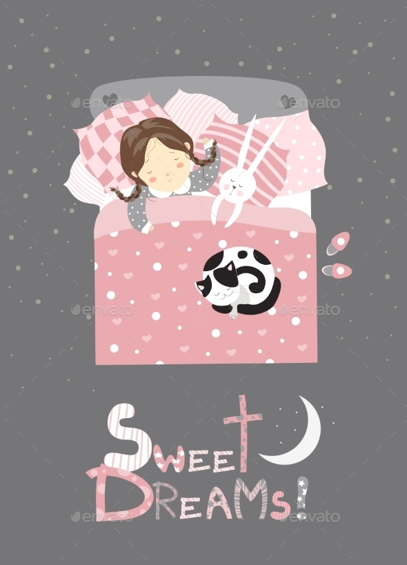 GraphicRiver Little Girl Sleeping With Cat 11816738