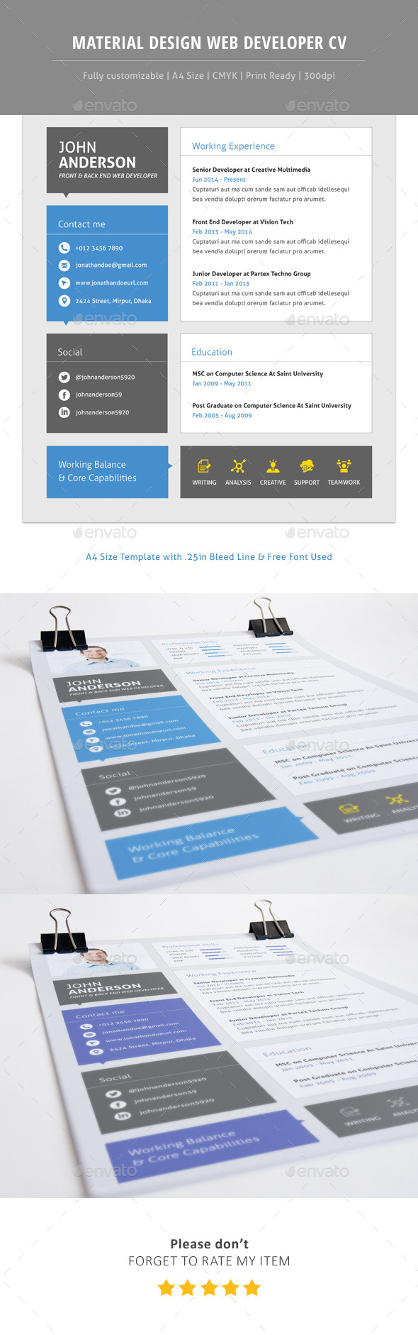 GraphicRiver Material CV For Web Developer 11817262