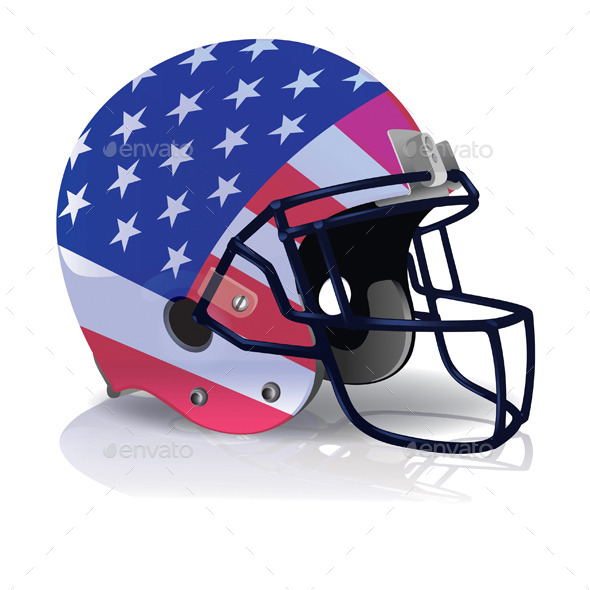 GraphicRiver Vector American Football Helmet with American Flag 11817407