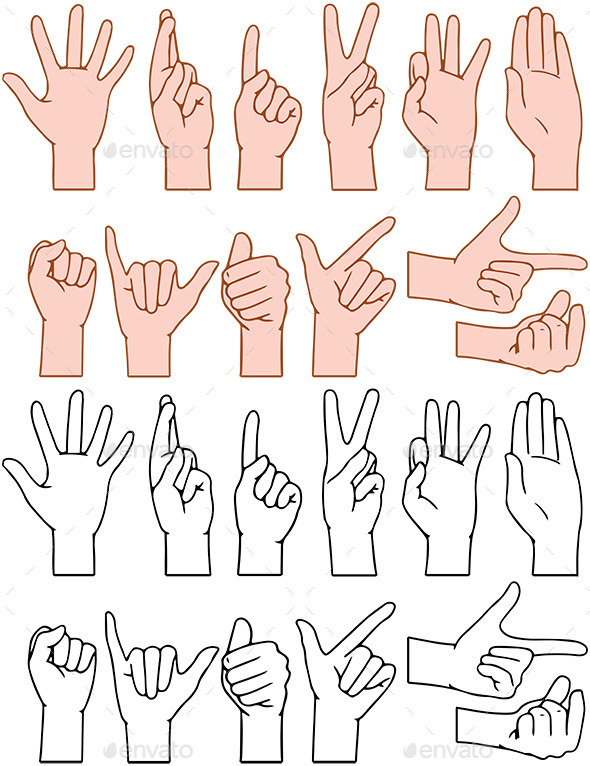 GraphicRiver Universal Hand Signs Gestures 11817803
