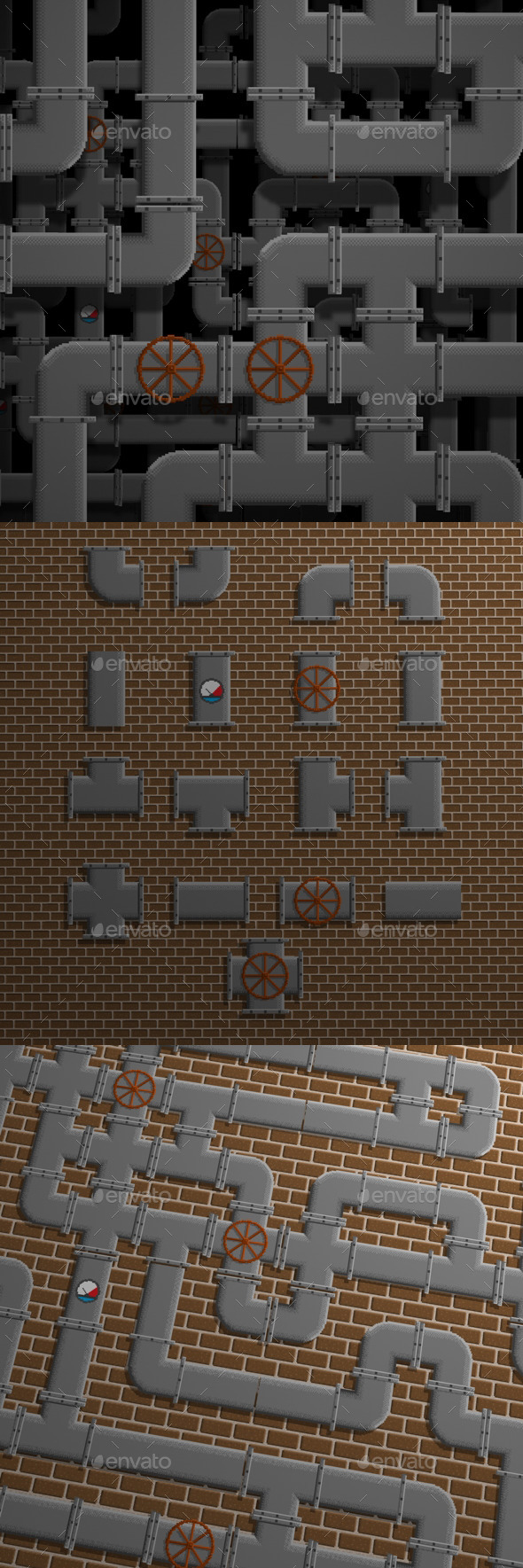 3DOcean 17 Tileable Pixel Pipes 11817843