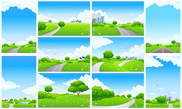 GraphicRiver Fresh Green Landscape Backgrounds Set 11818369