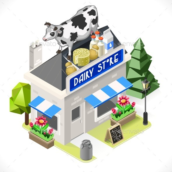 GraphicRiver Dairy Products Shop City Building 3D Isometric 11818779