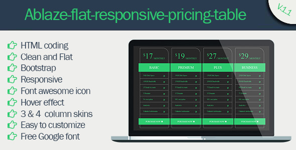 CodeCanyon Ablaze Flat Responsive Pricing Table 11734855