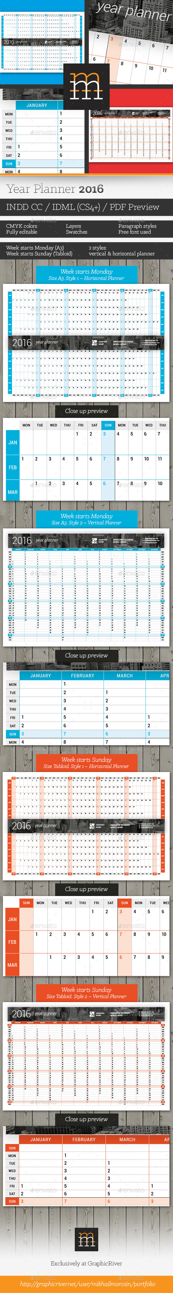 GraphicRiver Year Planner 2016 11818788