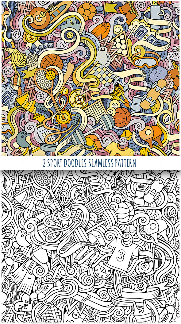 GraphicRiver 2 Sport Doodles Seamless Patterns 11818868