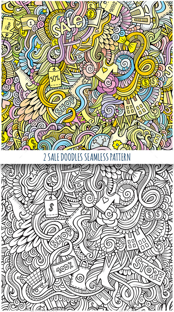 GraphicRiver 2 Doodles Seamless Sale and Shopping Pattern 11818987
