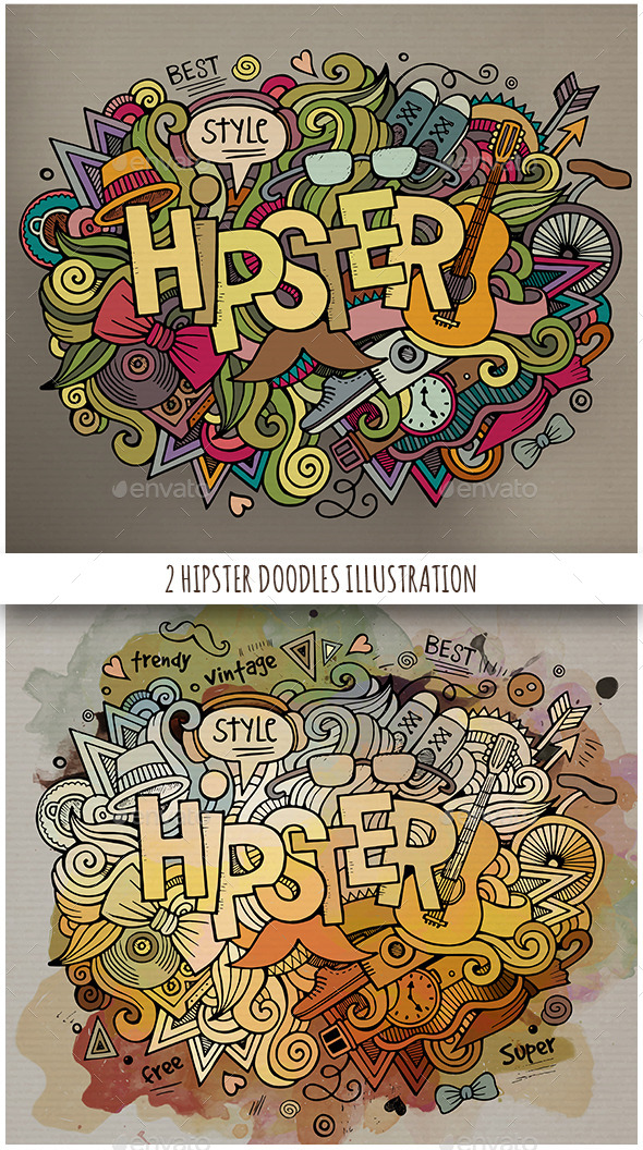 GraphicRiver 2 Hipster Doodles Designs 11819021