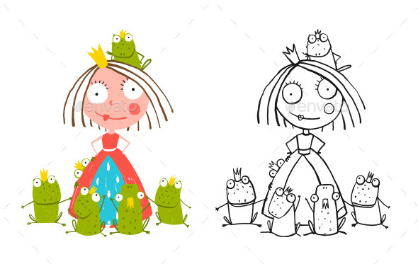 GraphicRiver Princess and Many Prince Frogs Portrait Drawing 11819158
