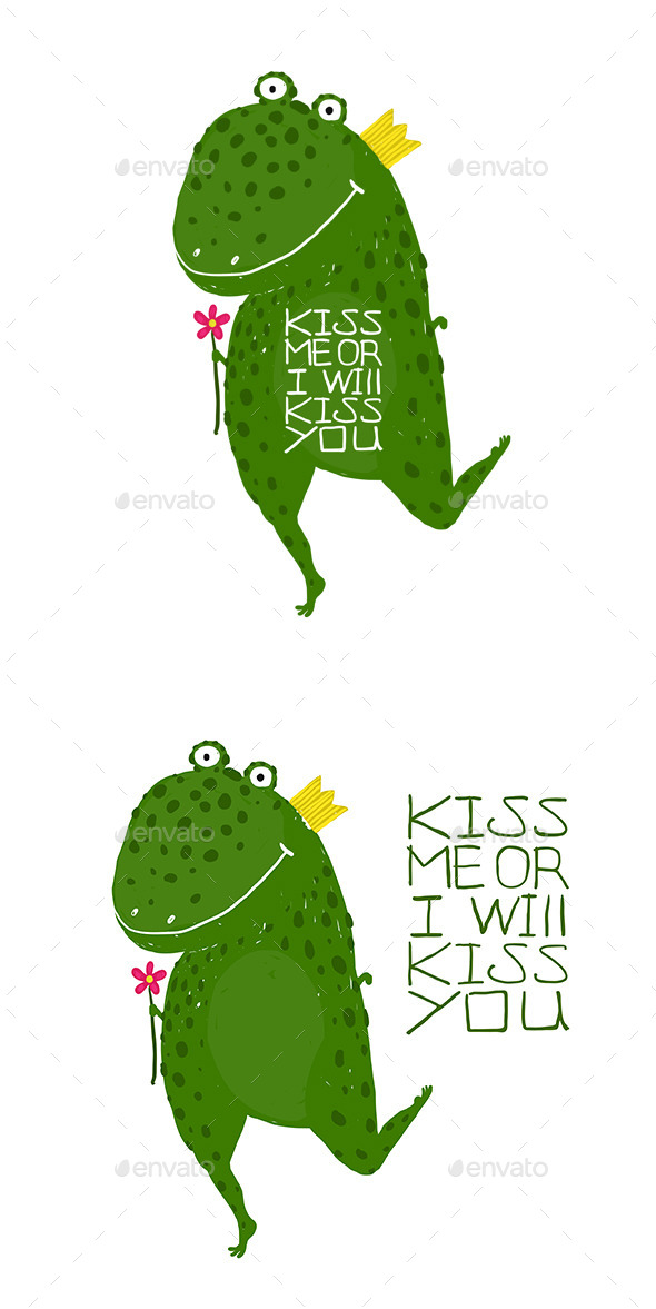 GraphicRiver Fun Green Magic Frog Asking for Kiss Smiling 11819164