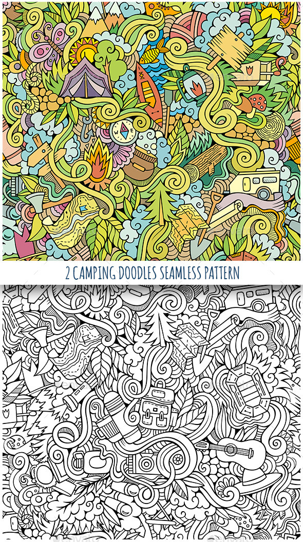 GraphicRiver 2 Camping Doodles Seamless Patterns 11819369