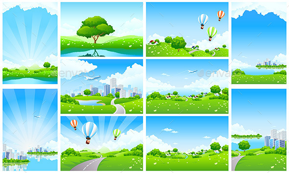 GraphicRiver Fresh Green Landscape Backgrounds Set 11819910