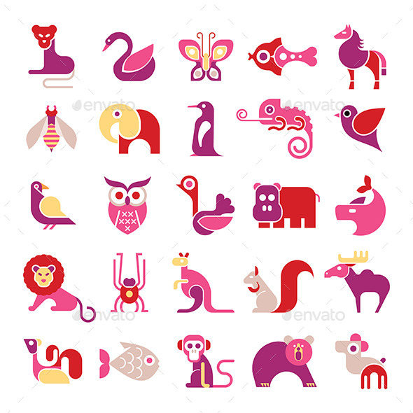 GraphicRiver Animal Vector Icon Set 11820205