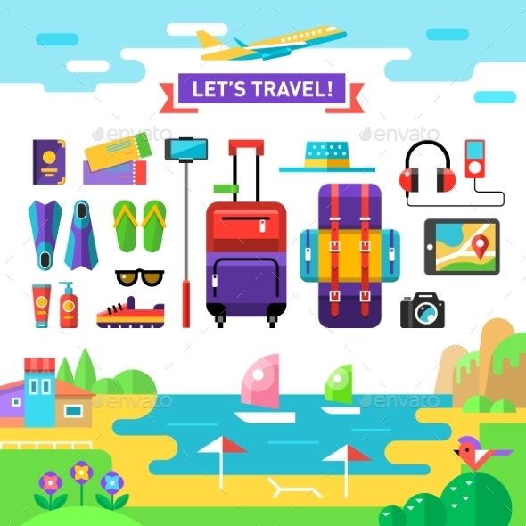 GraphicRiver Traveling Template Vocation s Accessories Flat 11820249