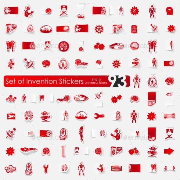 GraphicRiver Set Of Invention Stickers 11820360